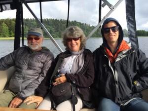 Ian, Richard, and Debbie on Lake Bolmen