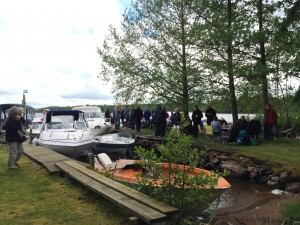 Boats and people gathered to celebrate