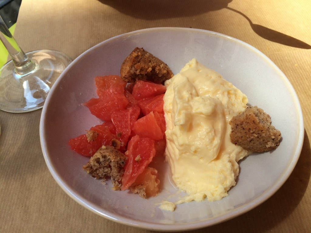 Creamy lime, pink grapefruit, and hazelnut financier