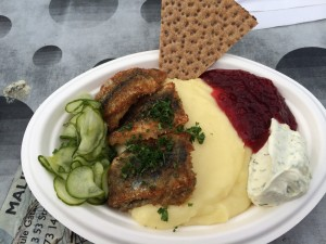 From Nystekt Strömmingvagnen in Sodermalm Square: herring with mashed potatoes, dill mustard, pickled cucumbers, and lingonberry jam