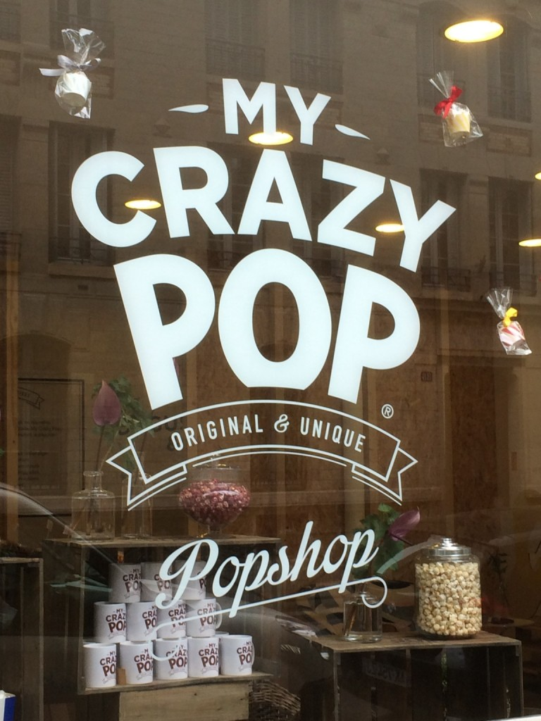"Popcorn store window reading ""my crazy pop"""