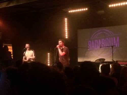 Michael Cera and Alden Penner perform at badaboom in Paris