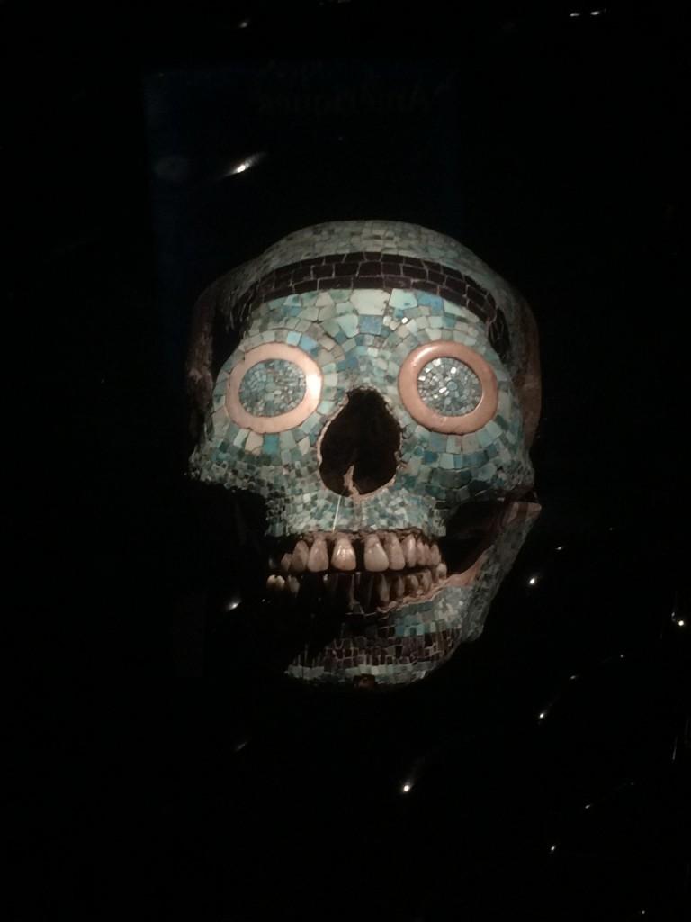 skull with embedded jade