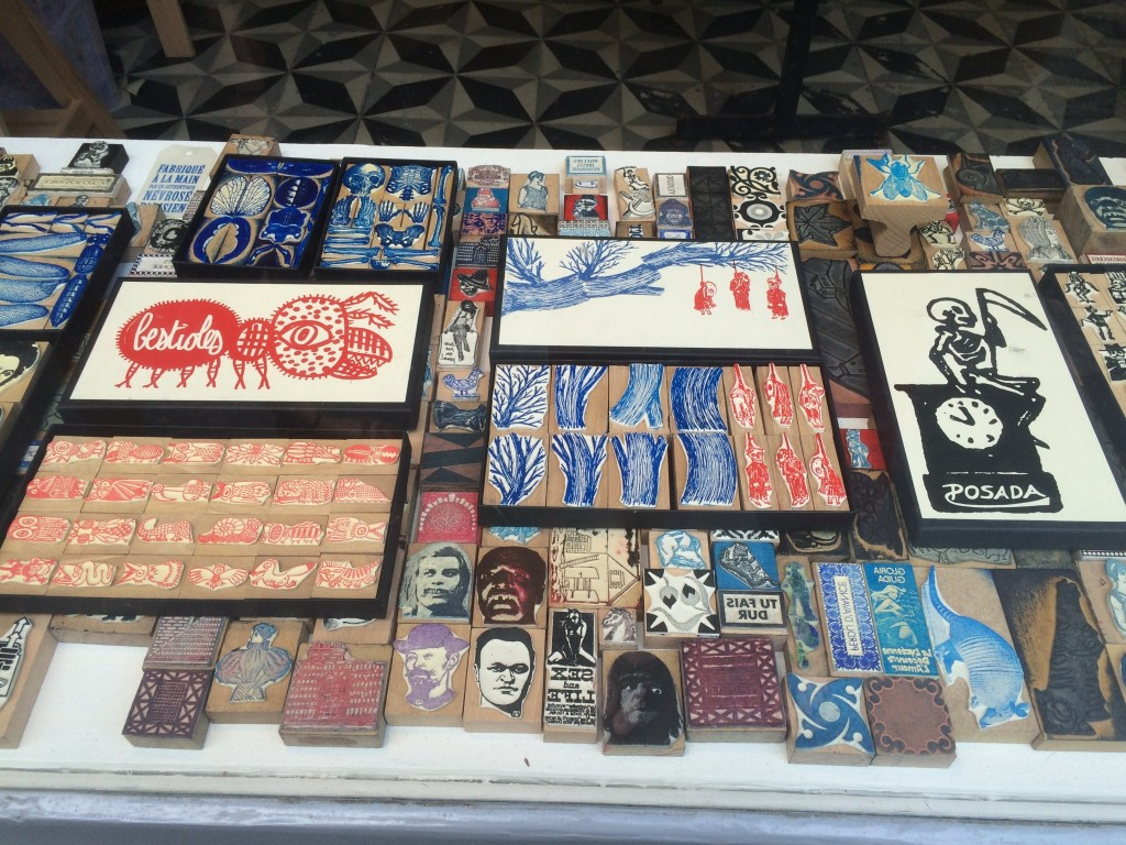 store front showing indie rubber stamps