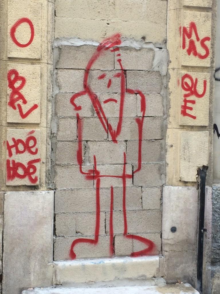 line drawing graffiti of a man