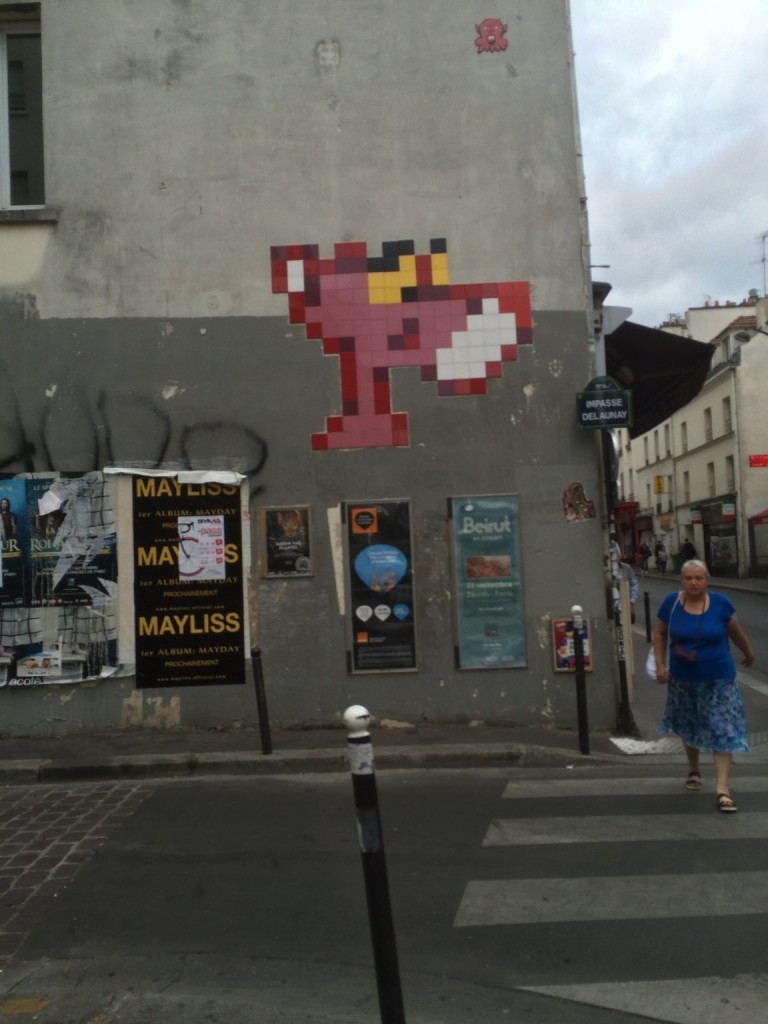 pixelated Pink Panther graffiti