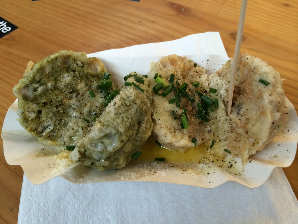 These knödel (dumplings) were stuffed with spinach and cheese.  They were ok, but really rich.