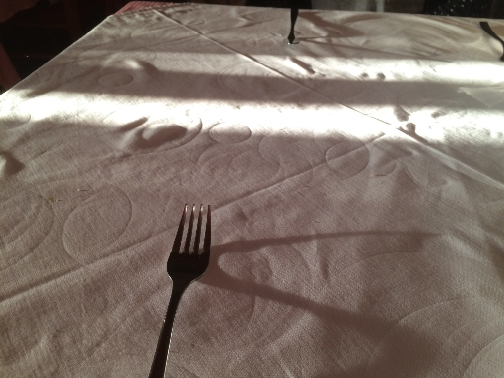 Love these little rings left behind on the tablecloth.