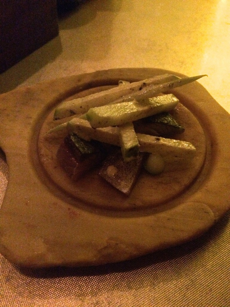 7th course: Smoked mackerel, apples, and celery.  This arrived inside a glass dome full of smoke.