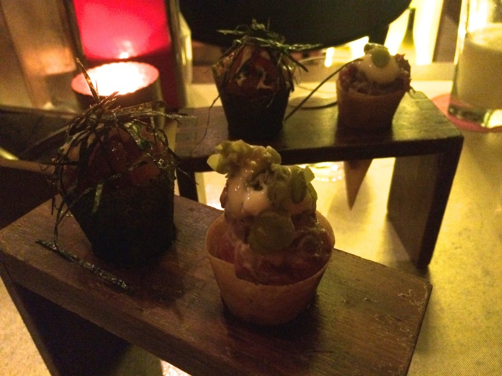 8th course: Tartare cones, a la French Laundry.  One is beef and the other is tuna.  These might have been our favorites.