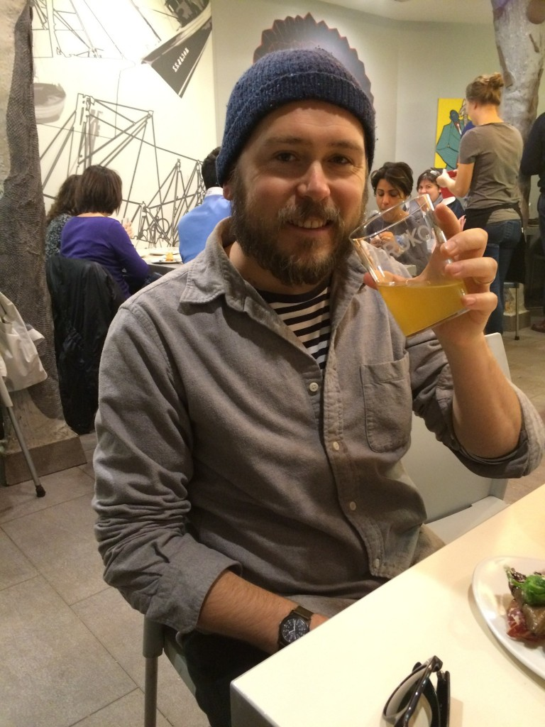Happy cider drinker